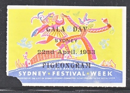 AUSTRALIA  PIGEONGRAM  1933  FAULT - Airmail