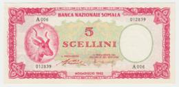 Somalia 5 Shillings 1962 UNC Pick 1 - Somalia