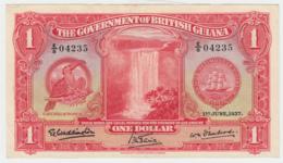 British Guiana 1 Dollar 1937 VF+ Pick 12a - Guyana