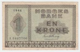 Norway 1 Krone 1946 AVF Pick 15b 15 B - Norvegia