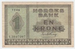 Norway 1 Krone 1946 VF++ Pick 15b 15 B - Norvegia