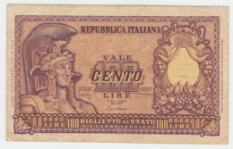 ITALY 100 Lire 1951 VG-F Pick 92a 92 A - [ 2] 1946-… : Repubblica