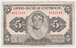 LUXEMBOURG 5 FRANCS 1944 VF Pick 43b 43 B - Luxemburg