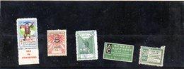 3876 - 5 Vignettes Tuberculose  1937  - Ligue Assainissement - Union Commerciale Plié Centenaire Napoleon Timbre Vert - Vignettes De Fantaisie