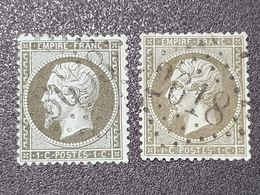 Napoléon III N° 19 X2 Avec Oblitération Losange Centrale 3653/2618  TTB - 1862 Napoleon III