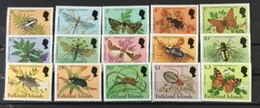 FALKLAND ISLANDS # 387-401.  Complete Set Of 15.  Insects, Butterflies. MNH (**) - Falkland Islands