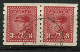 Canada 1943 3 Cent King George VI War Issue #265 Coil Pair - Sin Clasificación
