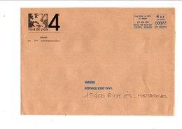 LETTRE DE MAIRIE DE LYON 4 EME - Postmark Collection (Covers)