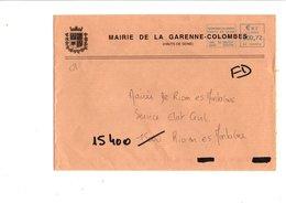 LETTRE DE MAIRIE DE LA GARENNE COLOMBES HAUTS DE SEINE - Postmark Collection (Covers)
