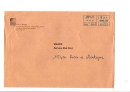 LETTRE DE MAIRIE DE ANGERS MAINE ET LOIRE - Postmark Collection (Covers)
