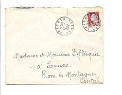 LETTRE DE SAIGNES CANTAL 1962 - Marcophilie (Lettres)