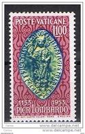 VATICANO:  1953  PIER  LOMBARDO  -  £. 100  CARMINIO, AZZURRO  E  GIALLO  N. -  SASS. 173 - Vatican