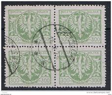 POLONIA:  1923  STEMMA  -  300 M. VERDE-OLIVA  BL. 4  US. -  LEGGERA  PIEGA  DELLA  CARTA  -  YV/TELL. 263 - 1919-1939 Repubblica