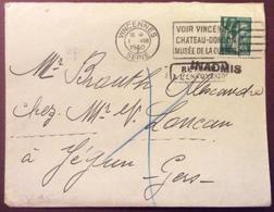 V95 «Retour à L'envoyeur» «Inadmis» «Voir Vincennes Château Donjon Musée Guerre» Iris 432 30/7/1940 - 1921-1960: Période Moderne