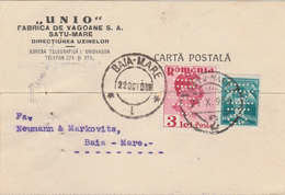 1936 Romania, Postcard With Perfins UNIO, Fabrica De Vagoane Satu Mare - 1918-1948 Ferdinand, Carol II. & Mihai I.