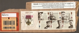 GREAT BRITAIN 2006 VICTORIA CROSS MINIATURE SHEET FINE USED ON PIECE WITH INSTRUCTIONS NOT TO RUIN THE STAMPS WITH A PEN - 1952-.... (Elizabeth II)
