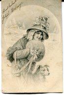 CPA - Carte Postale - Fantaisie - Femme - Chapeau - Chien - 1906 (M8159) - Femmes