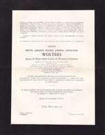 GAND LOVENDEGEM Fritz WOLTERS époux De WOUTERS D'OPLINTER 1897-1957 Ingénieur Faire-part 2 Volets Complets - Décès