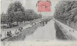 REIMS : LE CANAL - Ses Promeneurs , Péniches  (1904) - Reims