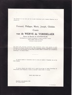VORSSELAER IXELLES Fernand Van De WERVE De VORSSELAER époux Blanche De LICHTERVELDE 1879-1958 2 Volets Complets - Décès