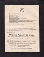 ALOST ANVERS Emilie De COEN épouse Albert DE WOLF 87 Ans 1945 Famille PHARAZYN - Décès