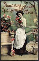 FEMME - CP - Jeune Femme Entourée De Fleurs - Circulé - Circulated - Gelaufen. - Femmes