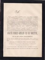 WETTEREN GAND Auguste Van De WOESTYNE Veuf D'HANE-STEENHUYSE 72 Ans 1877 Famille De LIEDEKERKE Vanden HECKE - Décès