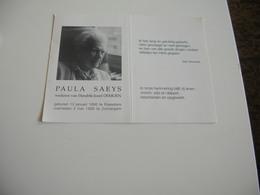 Paula Saeys (Roeselare 1895-Zomergem 1995);Demoen         -   100-jarige - Devotieprenten