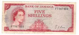 Jamaica 5 Shillings L.1960. VF. - Jamaica