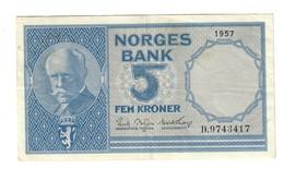 Norvegia Norges Bank 5 Kroner 1957 LOTTO 566 - Noorwegen