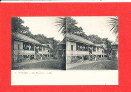 LE TONKIN  Cpa Stéréoscopique Une Habitation       5  LL - Vietnam