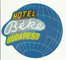 Vintage Luggage Label - Hotel Beke Budapest Hungary - Hotel Labels