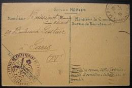La Rochelle 1935 Bureau De Recrutement, Carte Pour Paris - Marcophilie (Lettres)