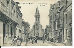 Neuville -de-Poitou-Rue Victor -Hugo Et L'Eglise - Neuville En Poitou