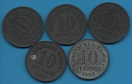 DEUTSCHES REICH LOT 5 X 10 PFENNIG 1918 - 1922 KM# 26 Zinc Wilhelm II - [ 3] 1918-1933 : Weimar Republic