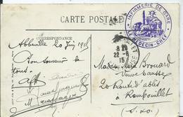 """CACHET MILITAIRE """" INFIRMERIE DE GARE """" Sur Carte Postale D'ABBEVILLE - Postmark Collection (Covers)"""