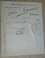 Facture Ancienne  - 1896 - Jules Fournier - Vélocipèdes De Luxe - Béziers - 1800 – 1899