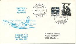 Faroe Islands Cover Last Flight Fokker F-27 Kastrup - Vagur - Kastrup 31-1-1977 - Denmark