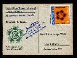 A6106) DDR Karte Tipschein 2.Runde 1973 Spendenmarke Orange - DDR
