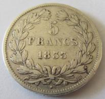 France - Monnaie 5 Francs Argent Louis Philippe I 1833 BB (Strasbourg) - France