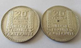 France - 2 Monnaies 20 Francs Turin Argent 1933 RL (Rameaux Longs) - L. 20 Francs