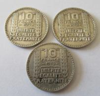 France - 3 Monnaies 10 Francs Turin Argent 1932 - K. 10 Francs