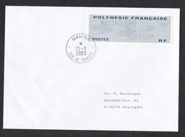 French Polynesia: Priority Cover Mahina Tahiti To Germany, 2003, ATM Machine Label, 120 FCFP (vague Imprint) - Polynésie Française