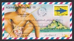 French Polynesia: Stationery Aerogramme Punaauia Tahiti To Albania, 2004, Fish, Rare Real Use! (traces Of Use) - Polynésie Française