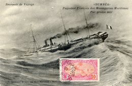 DUMBEA , Paquebot Français Des Messageries Maritimes Par Grosse Mer - Timbre SOMALIS 10C DJIBOUTI 1913 - Paquebots
