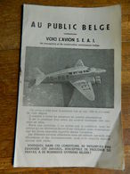 AVIATION:FEUILLET DE PRESENTATION DE L'AVION BELGE S.E.A.1 -8 PAGES - Publicidad