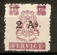INDIA - BHOPAL 1949 2a On 1½a OFFICIAL SG O356 FINE USED Cat £10 - Bhopal