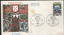 FDC 489 - FRANCE N° 1865 Le Limousin Sur FDC 1976 - FDC