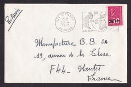 Reunion: Airmail Cover To France, 1971, 1 Stamp, Value Overprint CFA, Cancel Theatre Festival (minor Damage) - Réunion (1852-1975)
