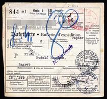 A6108) DR Paketkarte Greiz 01.04.37 N. Zagreb Nachporto - Briefe U. Dokumente